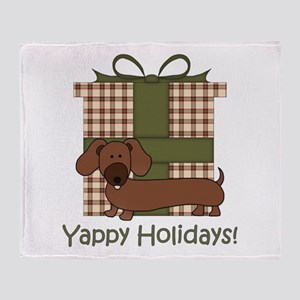 Yappy Holidays Dachshund and Gifts Throw Blanket
